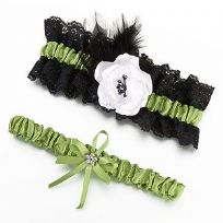 Green And Black Lace Wedding Garter Set